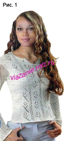 Женский пуловер в народном стиле